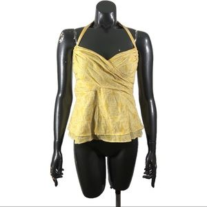 Vanessa Virginia Anthropologie Yellow Printed Top